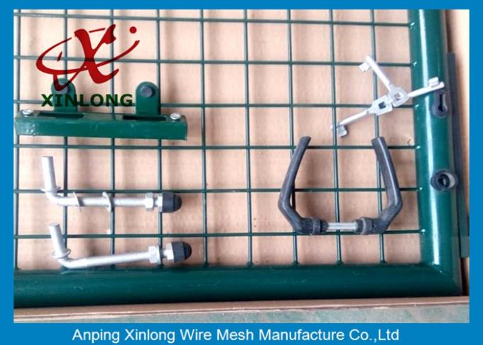 Dark Green PVC Coated Welded Fence Gate With Round Post For Gym XLF-16